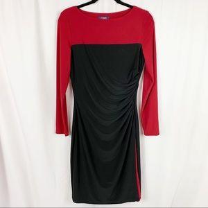 Chaps Colorblock Ruched Long Sleeve Dress Sz M